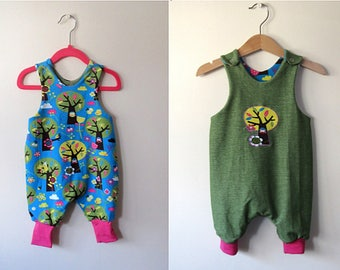 Organic reversible baby romper, baby romper green trees 3 - 6 months reversible harem romper baby play suit grow with me baby clothing