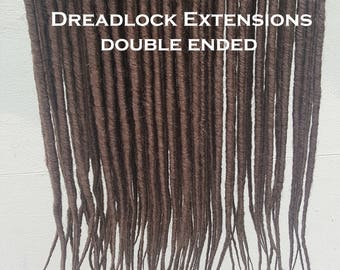 Dreadlock Extensions 10 x Double Ended chocolate brown #12/10 Synthetic backcombed 20 inch long