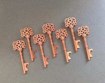 """Skeleton Key BOTTLE OPENERS – Set of 50 – Rose Gold – 3"""" Long (76mm) –Vintage Style - Create Your Own Wedding Favors! Ships from USA."""