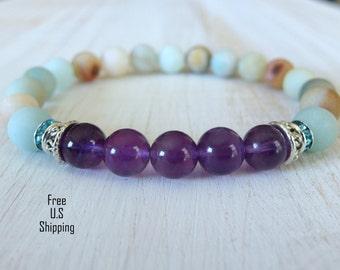 Amethyst bracelet, Amazonite bracelet, Calming bracelet, Yoga bracelet, Healing bracelet, Reiki bracelet, anti anxiety bracelet, Yoga mala