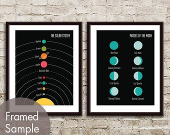 The Solar System and Moon Phases - 2 Art Prints (Featured in Black) Modern Astronomy / Outer Space Art Print