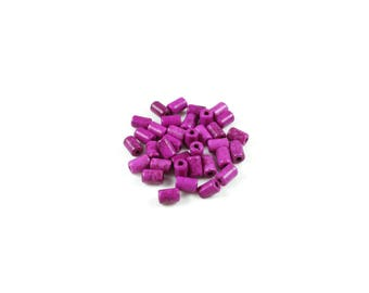 1 strand of approximately 60 beads Turquoise synthetic pink Fuchsia column +/-6 x 4mm