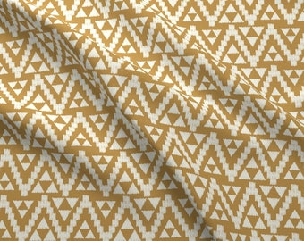 Aztec Boho Fabric - Geometric Tribal - Mustard Cream By Bohemiangypsyjane - Modern Home Decor Cotton Fabric By The Yard With Spoonflower