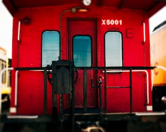 Train Photography - Crimson Red Caboose, Boys Room Decor - Red Caboose - Chicago photography, Wall Decor, Color photography