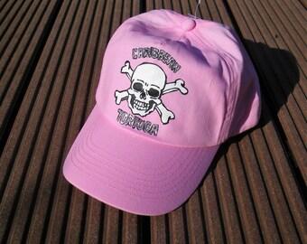 casquette enfant, rose , peinte à la main, pirates, île de la barbade, taille ajustable, mode été, soleil, mode enfant, casquette garçon