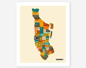 MANHATTAN NEIGHBORHOODS (Giclée Fine Art Print/Photo Print/Poster Print) by Jazzberry Blue