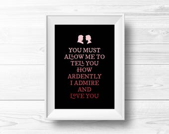 Pride and Prejudice Wall Art -- Red & Pink, Valentine's Gift, Ombre, Darcy Proposal, Jane Austen, Typography, Printable, Instant Download