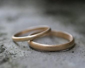 14k yellow gold half round wedding band set 2 rings