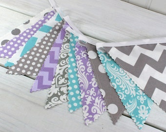 Garland Banner Bunting Baby Girl Nursery Decor Fabric Bunting Baby Shower Party Decorations Lavender Purple Flower Floral Gray Aqua Chevron