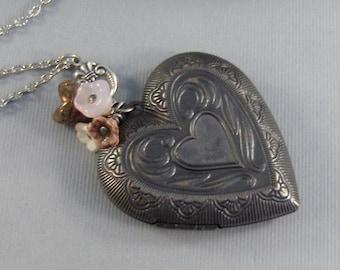 Sweetheart,Locket,Silver Locket,Pink Flower,Heart Locket ,Antique Locket,Pink Locket,Pink Necklace,Pink Flower,Bouquet valleygirldesigns.