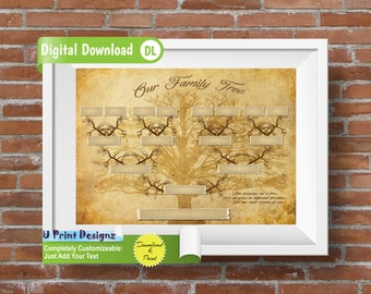 4 Generation Blank Custom Printable Family Tree -   Genealogy Template, INSTANT DOWNLOAD, Genealogy Print, Ancestry Chart - Just Add Names