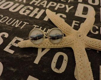 1966 Corvette, Cufflinks, Cuff Links, Custom Cufflinks,Sterling Silver Plated, Antique Car, Antique Car Cufflinks, Glass Bezel Cufflinks