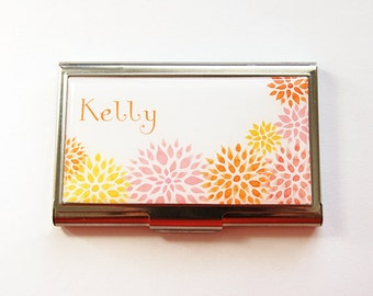 Personalized Business Card Case, Custom Gift, Flowers, Personalized, business card holder, Custom Case, Yellow, Orange, Pink (4211)