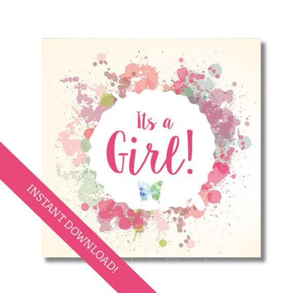 Its A Girl Card Baby Shower Card Printable Card Pdf And Jpg