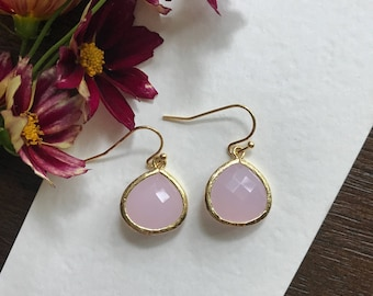 Teardrop  Bridesmaid gift, Pink and gold earring, bridesmaid earring, bridesmaid jewelry