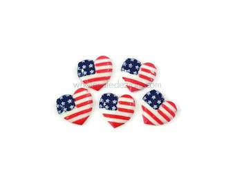 Fourth of July Resins - 5 Heart Flag Cabochon - Red, White, and Blue - Flat Back Acrylic Embellishment