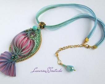 Statement Shibori Pendant Shibori silk ribbon necklace Bridal Shibori embroidery Statement necklace Summer jewelry ideas Gift for women