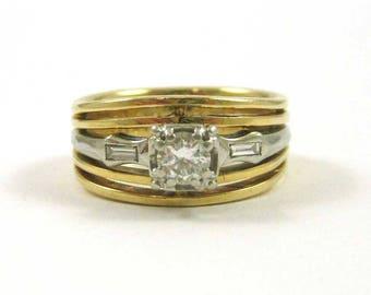 Diamond, Yellow Gold  and Platinium Ring
