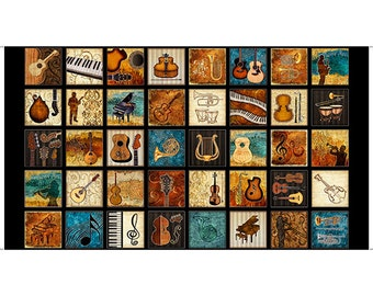 Encore Music Cotton Fabric #27013J Panel by Quilting Treasures! [Choose Your Cut Size]