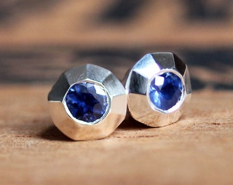 Sapphire stud earrings, silver studs, sapphire earring, september birthstone earring, saphire earrings, bridesmaid gift, ready to ship