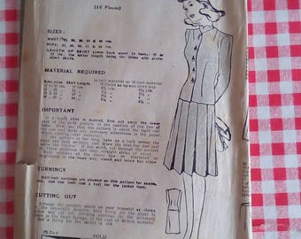 """1940s Suit - 34"""" Bust - Bestway 19,346 - Vintage Sewing Pattern"""