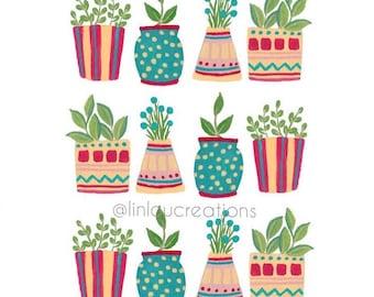 Plants Print, Plants Gouache Painting, Print 8x10