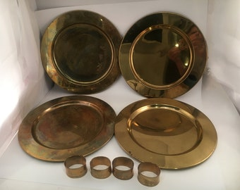 Vintage Brass Plate Chargers - Set of 4 - Brass Plate Charger - Plate Charger - Vintage Brass - Brass Napkin Rings - Napkin Rings - Brass
