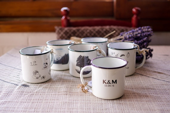 100 Wedding Favors For Guests Enamel Mug Rustic Set Personalized Reception Decor Custom Marriage Gifts