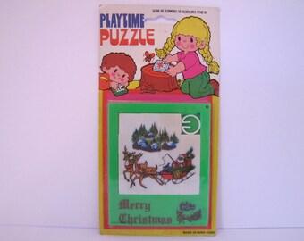 Vintage Sliding Merry Christmas Puzzle