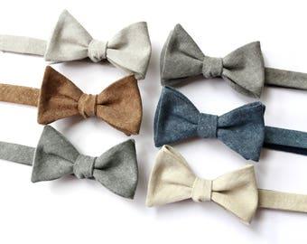 Linen Bow Tie~Mens Self Tie Bow Tie~Mens Pre Tied~Anniversary Gift~Wedding Tie~HoBo Ties~Mens Gift~Wedding~Mens Linen Bow Tie~Brown Linen