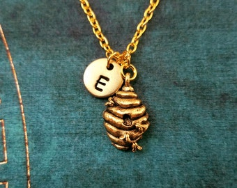 Beehive Necklace VERY SMALL Beehive Charm Necklace Beehive Jewelry Bee Hive Necklace Bee Necklace Bee Jewelry Honey Necklace Initial Pendant