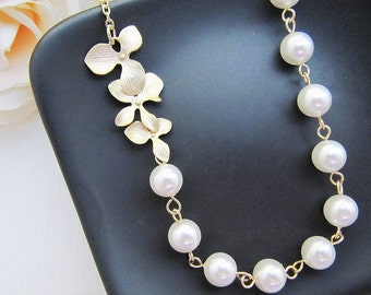 Wedding Bridal Jewelry Bridesmaid Jewelry Matte Gold finish Orchid Trio Flower charm and Crystal White Swarovski Pearls Bridal Necklace