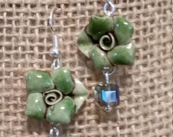Green Rose Earrings, Ceramic Earrings, Rose Earrings with Swarovski Crystal