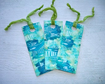 1 Turquoise Fish Pattern Handcrafted Bookmark With Lime Green Chiffon Ribbon