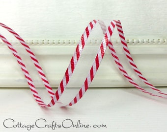 "Christmas Wired Ribbon, 5/8"" wide, White Sheer with Red and White Striped Edging - THREE YARDS, ""Candy Cane Sheer #3""  Wire Edged Ribbon"