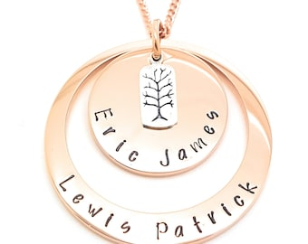Personalised jewellery hand stamped pendants by coorabellcrafts layered personalised pendant two ring disk names necklace pendant family necklace rose gold personalised gifts aloadofball Choice Image