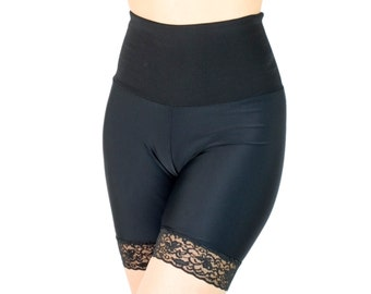 Tummy Tucking Shorts Spandex Skimmies Black Lace Trim Shaping Underwear