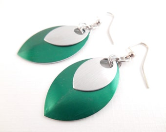 Scale Maille Earrings - Green & Silver Anodized Aluminum Scale Maille Earrings