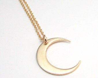 Moon Necklace | Gold Crescent Moon Charm | 14K Gold Filled Pendant and Chain