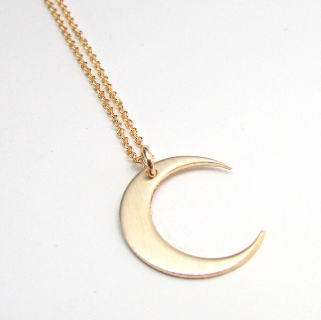 Moon necklace gold crescent moon charm 14k gold filled zoom aloadofball Choice Image