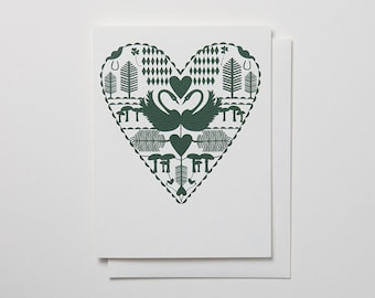 Swans Mate for Life Card - Forest Green blank