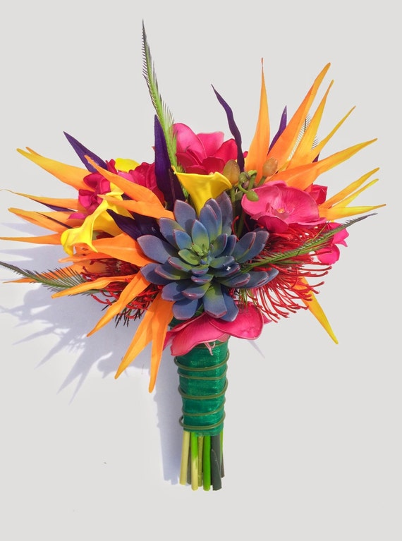 Colorful Tropical Bride Bouquet with Birds of Paradise Calla