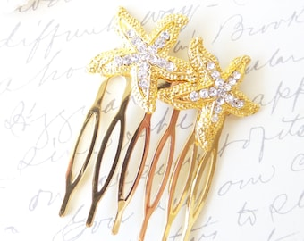Rhinestone Starfish Hair Comb - Gold Starfish - Beach Wedding - Hair Accessory - Bridal - Wedding Hair