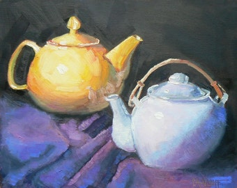 """Teapot Still Life, Original Oil, Teapot Painting, """"Two for Tea"""", 8X10, Free Shipping in US"""