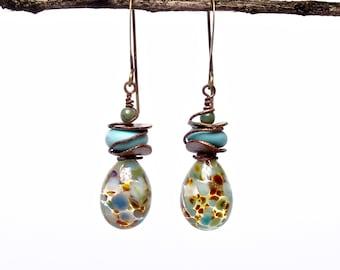Artisan Crafted Jewelry, Aqua Teardrop Dangle Earrings, Art Bead Earrings
