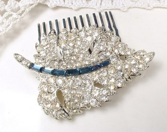Vintage Wedding Bridal Sapphire Hair Comb, Art Deco Navy Pave Rhinestone Leaf HairPiece,Something Blue Old Clip Silver Blue Headpiece Autumn
