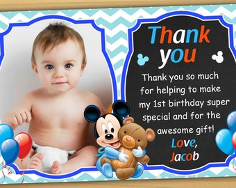 Mickey mouse 1st birthday thank you card, mickey mouse baby thank you card - Digital file
