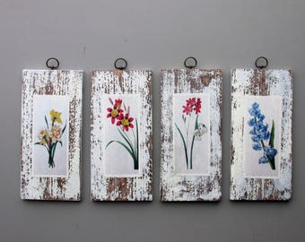 "Farmhouse wall decor - a 4 piece wall collage - ""The Most Beautiful Flowers ""- colorful flair- rustic decor"