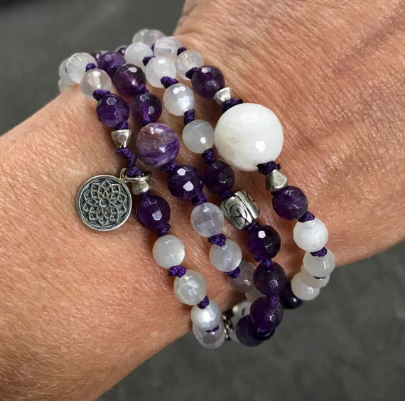 108 Crown Chakra Mala Beads - Amethyst Mala Bracelet - Moonstone Mala Necklace - Yoga Jewelry - Sahasrara Chakra - Mala For Enlightenment,