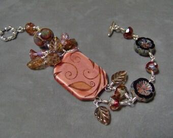Ceramic Cuff Bracelet-Pansy Czech Glass and Lampwork Beaded Bracelet-Artisan Ceramic- Lampwork Bracelet-Wire Wrapped Dangle Bracelet-SRAJD